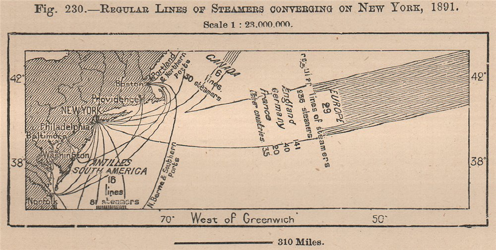 Associate Product Regular lines of Steamers converging on New York,1891.United States 1885 map