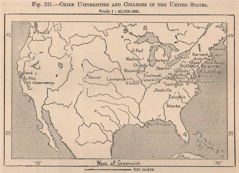 Chief Universities and Colleges in the United States. USA 1885 old antique map