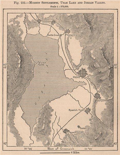 Associate Product Mormon settlements, Utah Lake and Jordan Valley. United States 1885 old map