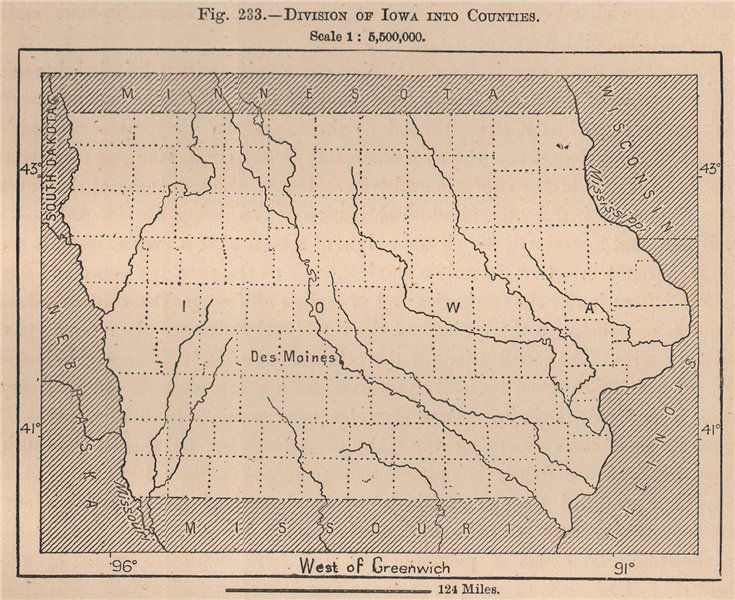 Associate Product Division of Iowa into Counties. United States 1885 old antique map plan chart