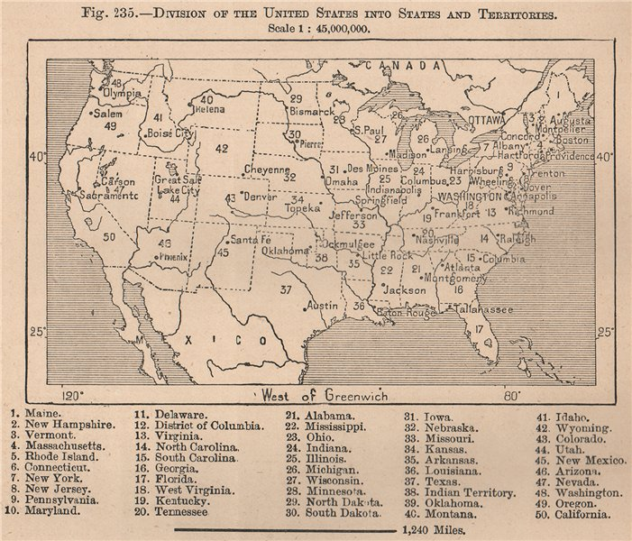 Associate Product Division of the United States into States and Territories. USA 1885 old map