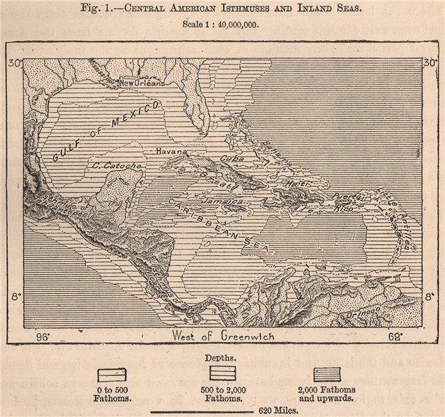 Details about Central American Isthmuses and Inland Seas. Caribbean 1885  old antique map
