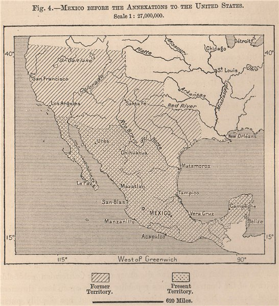Associate Product Mexico before the annexations to the United States 1885 old antique map chart