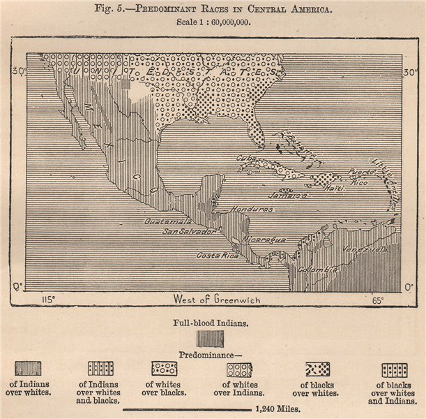 Associate Product Predominant races in Central America 1885 old antique vintage map plan chart