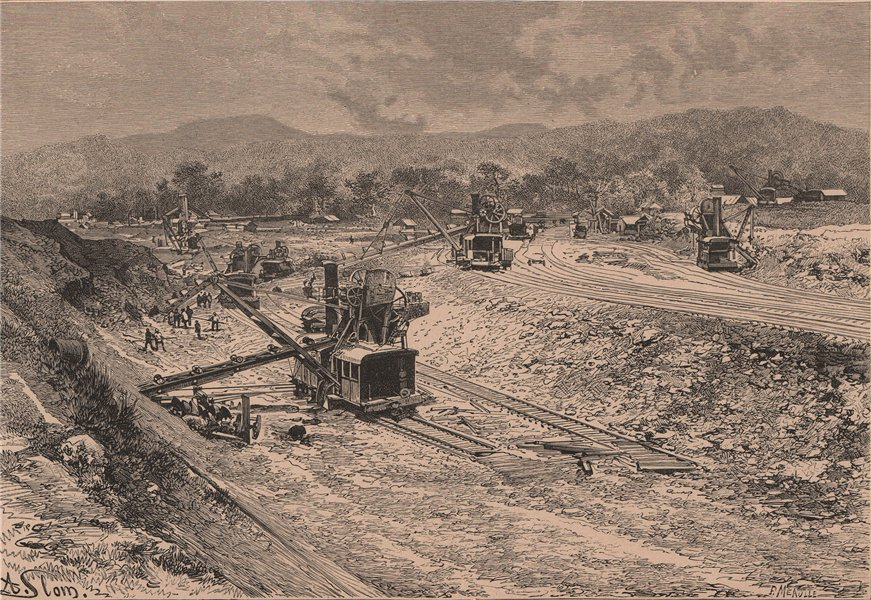 Associate Product Panama canal cnstruction - View from the Culebra Cut 1885 old antique print