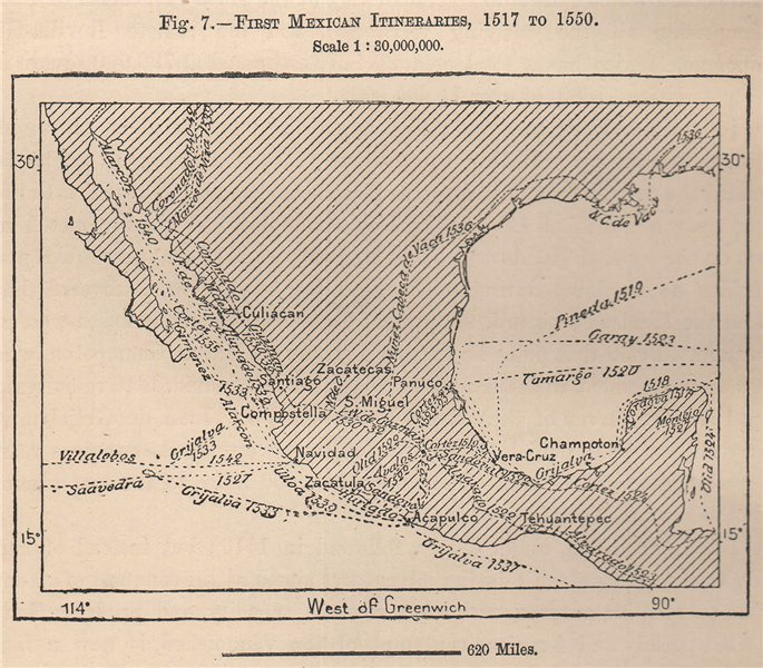 Associate Product First Mexican exploration Itineraries, 1517 to 1550. Mexico 1885 old map