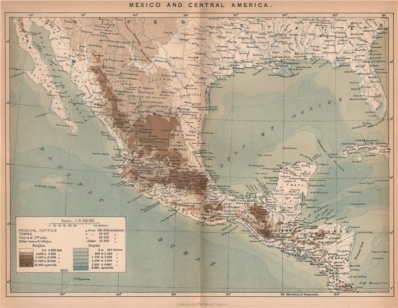Associate Product Mexico and Central America 1885 old antique vintage map plan chart