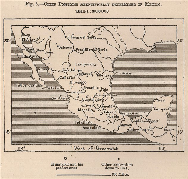 Associate Product Chief positions scientifically determined in Mexico 1885 old antique map chart