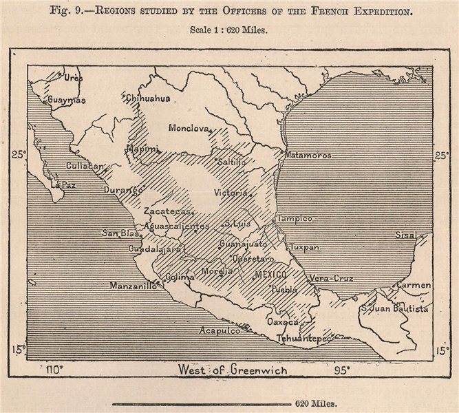 Associate Product Regions studied by the officers of the French expedition. Mexico 1885 old map