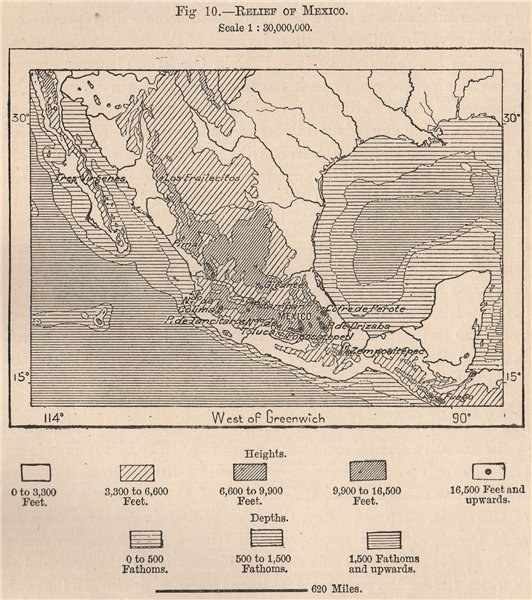 Associate Product Relief of Mexico 1885 old antique vintage map plan chart