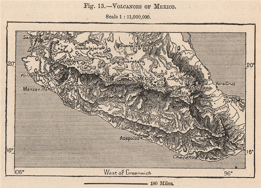 Associate Product Volcanoes of Mexico 1885 old antique vintage map plan chart