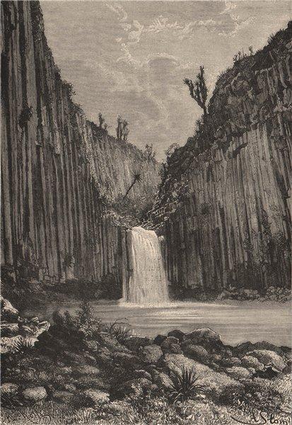 Basaltic Prisms of Santa María Regla. Falls. Mexico 1885 old antique print