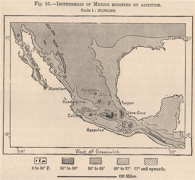 Associate Product Isothermals of Mexico modified by Altitude 1885 old antique map plan chart