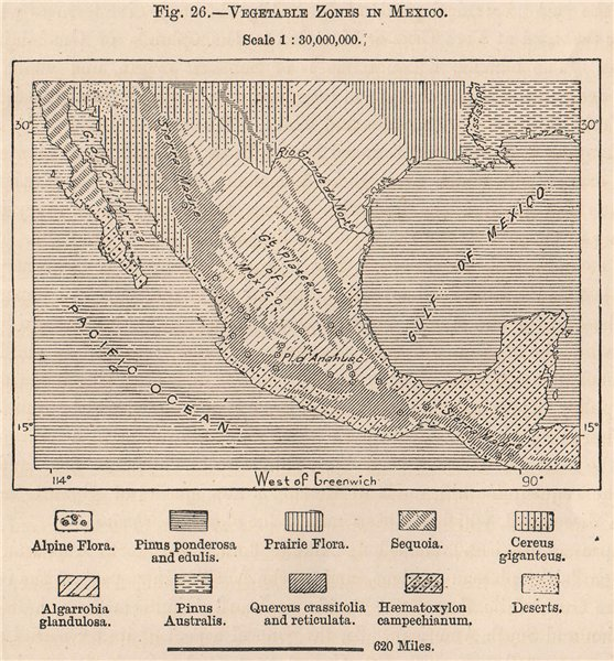 Associate Product Vegetable zones in Mexico 1885 old antique vintage map plan chart