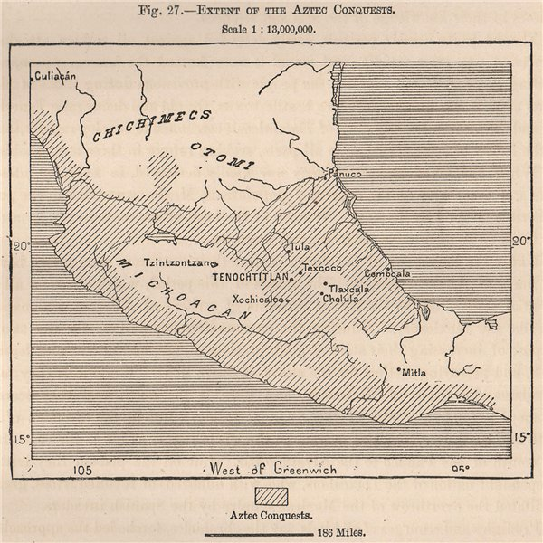 Associate Product Extent of the Aztec conquests. Mexico 1885 old antique vintage map plan chart