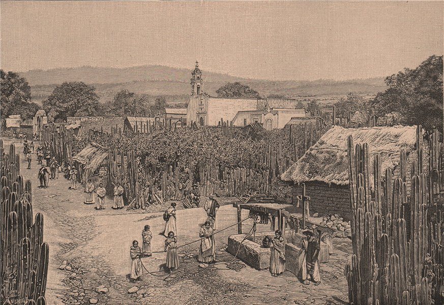 Associate Product Indian village - View taken at the Huexoculco Pueblo, province of Mexico 1885