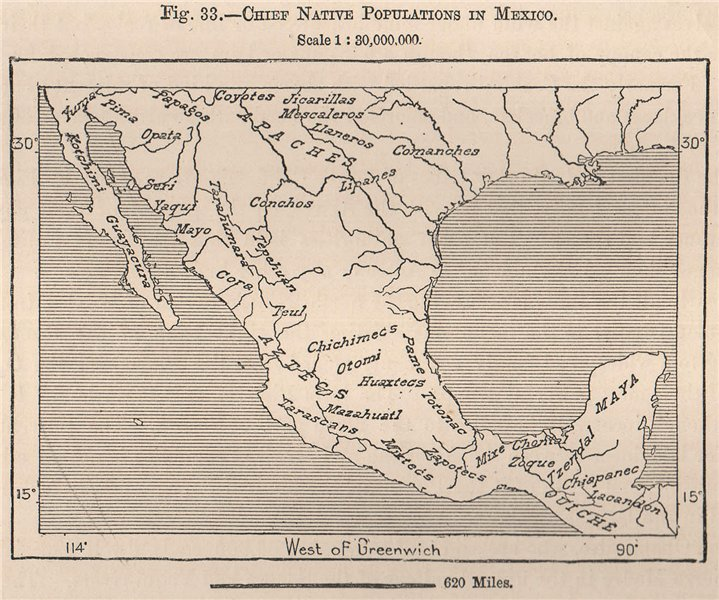 Associate Product Chief native populations in Mexico 1885 old antique vintage map plan chart