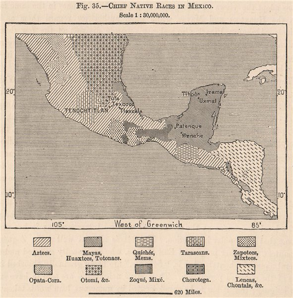 Associate Product Chief native races in Mexico 1885 old antique vintage map plan chart