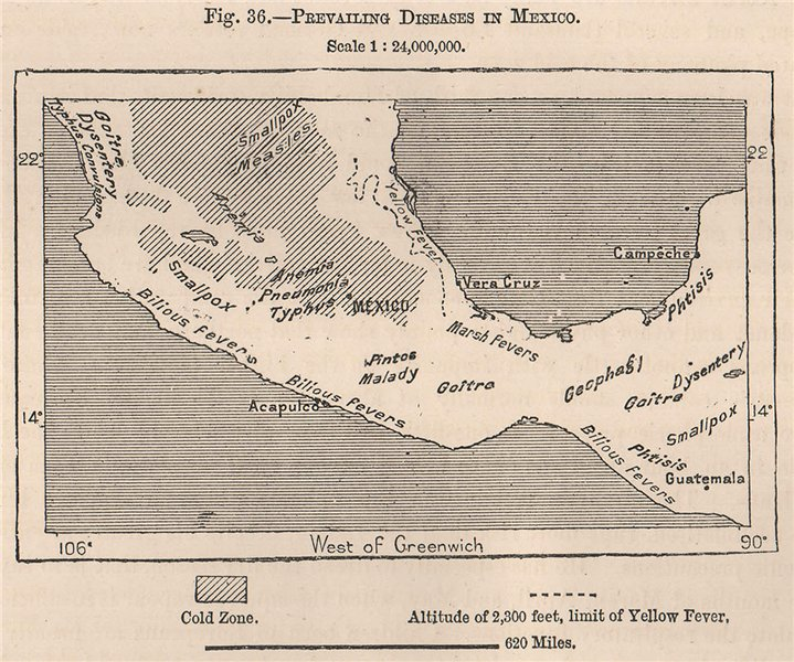 Associate Product Prevailing diseases in Mexico 1885 old antique vintage map plan chart