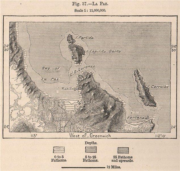 Associate Product La Paz. Mexico 1885 old antique vintage map plan chart