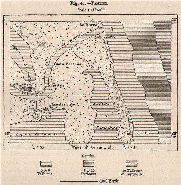 Associate Product Tampico. Mexico 1885 old antique vintage map plan chart