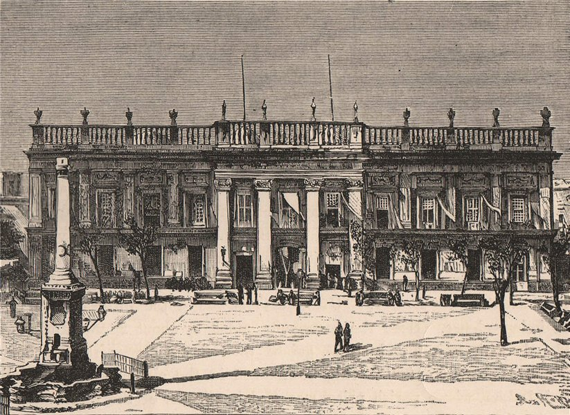 Associate Product San Luis Potosi - Government Palace. Mexico 1885 old antique print picture