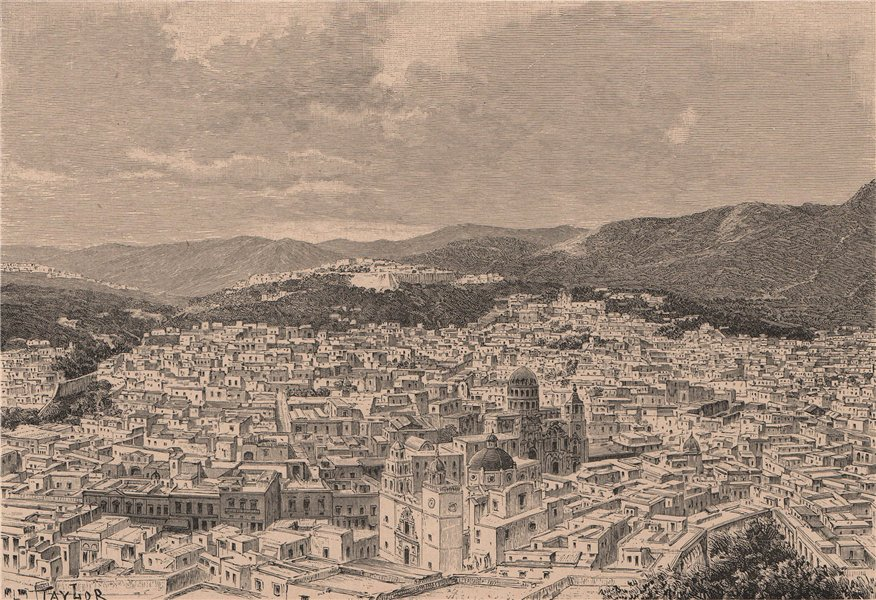 Associate Product Panoramic view of Guanajuato. Mexico 1885 old antique vintage print picture