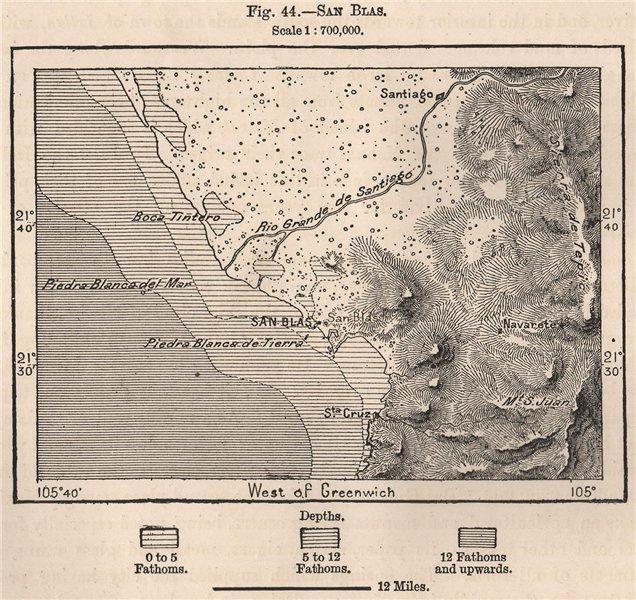 Associate Product San Blas. Mexico 1885 old antique vintage map plan chart