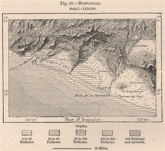 Associate Product Manzanillo, Colima. Laguna de Cuyutlan. Mexico 1885 old antique map plan chart