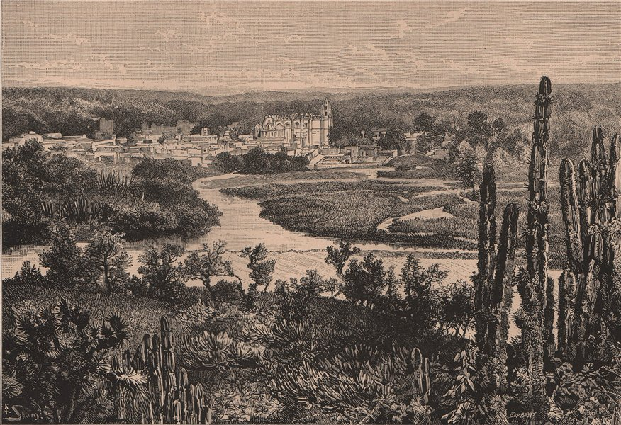 Associate Product City of Tula de Allende, Hidalgo - General view. Mexico 1885 old antique print