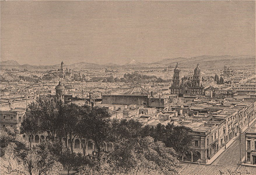 Associate Product Puebla de Los Angeles - View from the South. Mexico 1885 old antique print