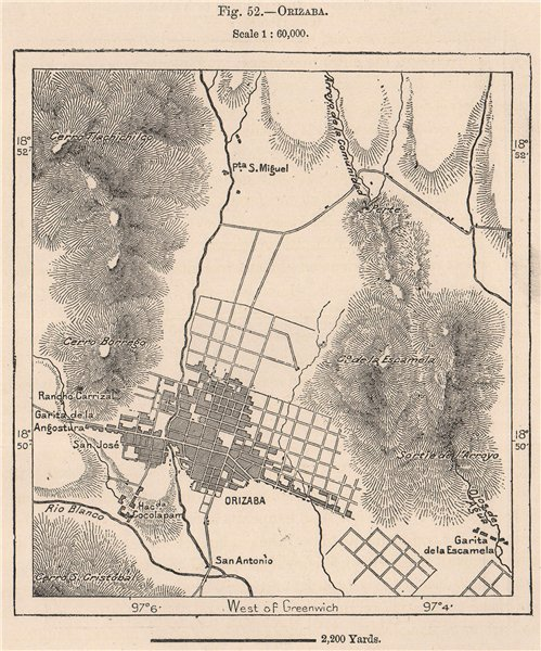 Orizaba. Veracruz, Mexico 1885 old antique vintage map plan chart