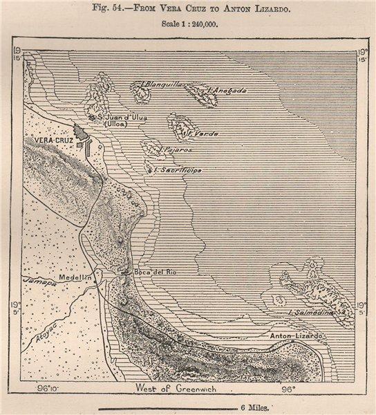 Associate Product From Veracruz to Anton Lizardo. Boca del Rio. Mexico 1885 old antique map