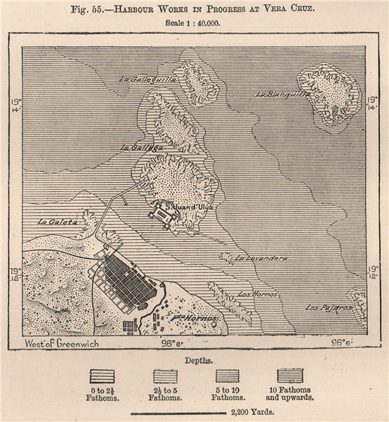 Associate Product Harbour works in progress at Veracruz. San Juan de Ulua. Mexico 1885 old map