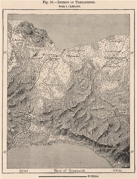 Associate Product Isthmus of Tehuantepec. Mexico 1885 old antique vintage map plan chart