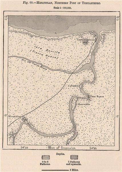 Associate Product Minatitlan, Northern Port of Tehuantepec. Coatzacoalcos. Mexico 1885 old map