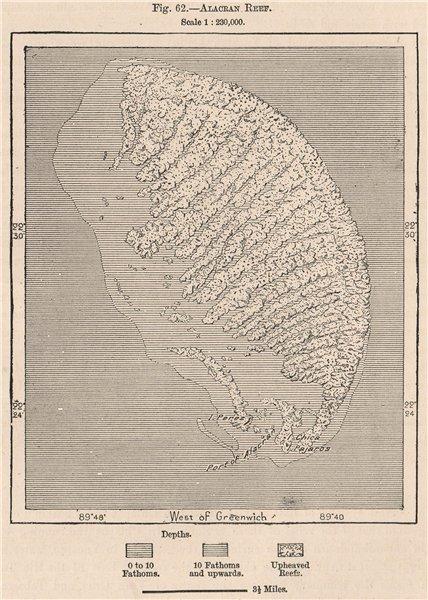 Associate Product Alacran Reef. Scorpion Reef. Arrecife Alacranes. Yucatan, Mexico 1885 old map