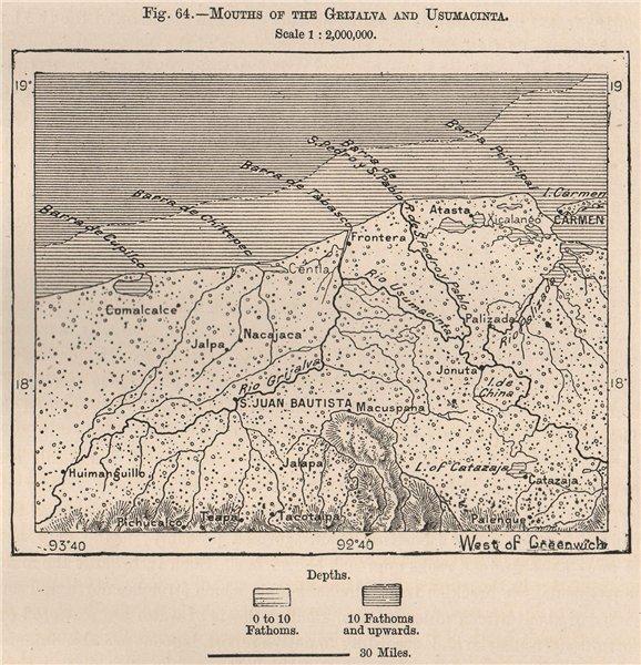 Associate Product Grijalva/Usumacint mouths Villahermosa Carmen Pantanos Centla Mexico 1885 map