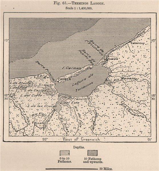Associate Product Terminos Lagoon. Laguna de Términos. Mexico 1885 old antique map plan chart