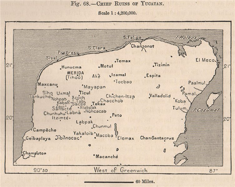 Chief Ruins of Yucatan. Mexico 1885 old antique vintage map plan chart