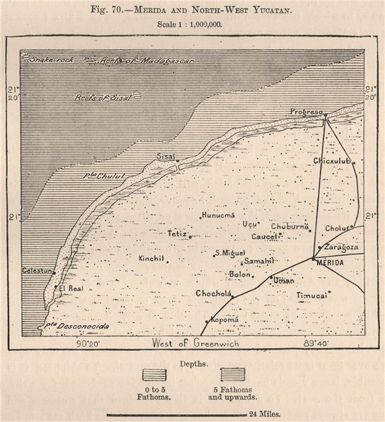 Associate Product Merida and North-West Yucatan. Mexico 1885 old antique vintage map plan chart