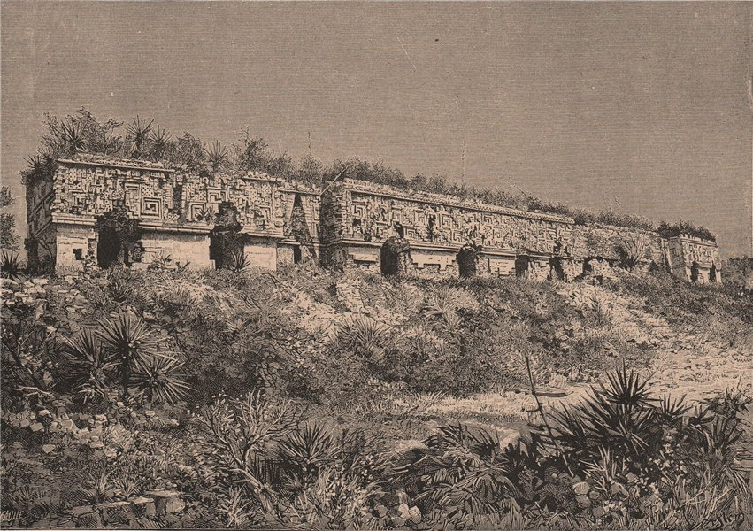 Associate Product Ruins of Uxmal - The Governor's Palace. Mexico 1885 old antique print picture