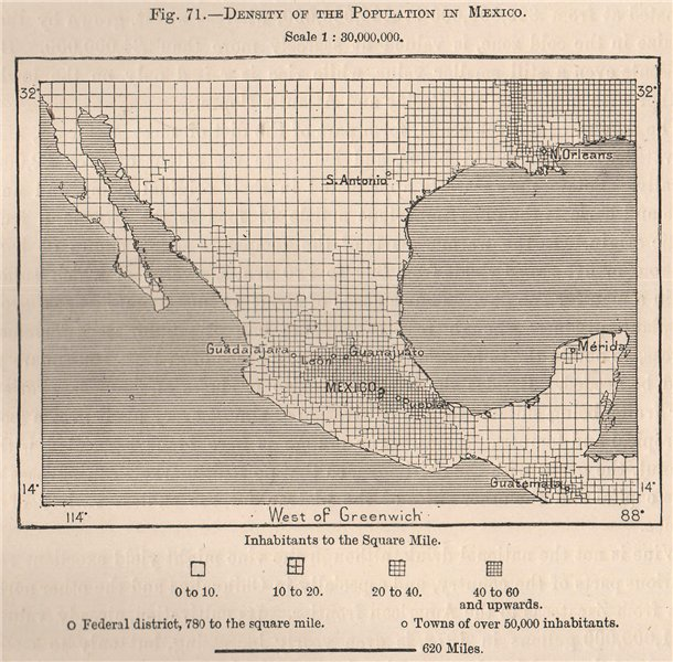 Associate Product Density of the population in Mexico 1885 old antique vintage map plan chart