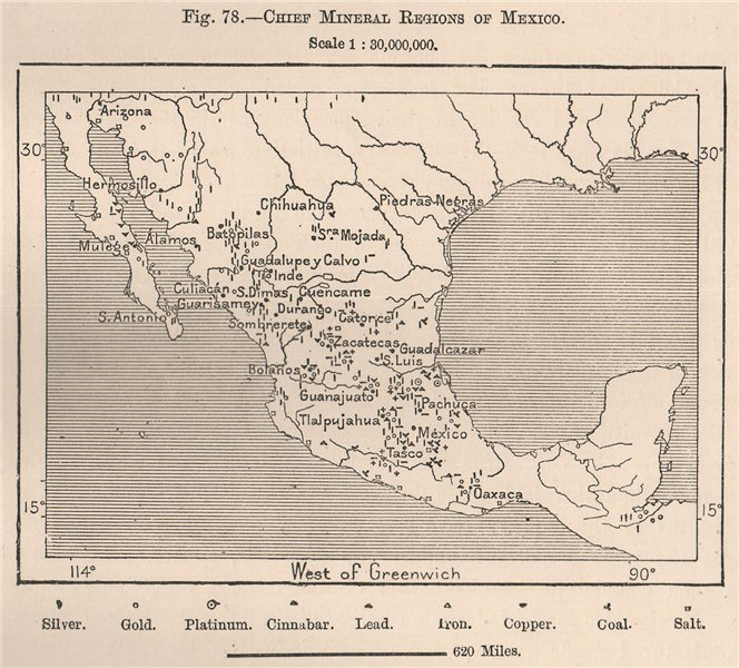 Associate Product Chief Mineral regions of Mexico 1885 old antique vintage map plan chart