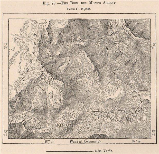 Boca del Monte, Maltrata, Veracruz, Mexico. Carretera 1885 old antique map