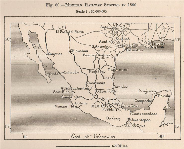 Associate Product Mexican Railway systems in 1890. Mexico 1885 old antique map plan chart
