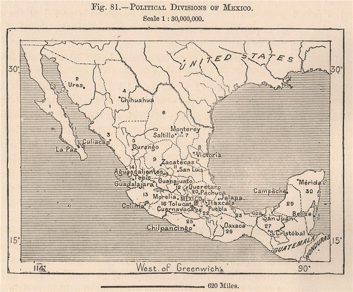 Associate Product Political divisions of Mexico 1885 old antique vintage map plan chart