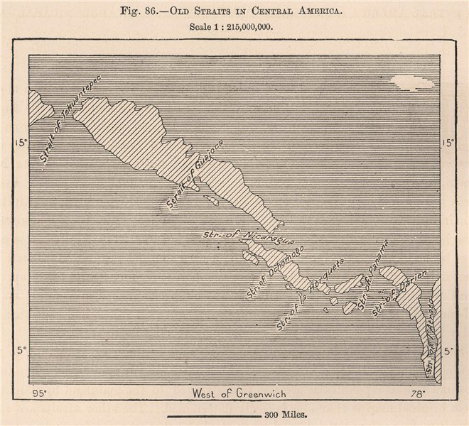 Associate Product Old Straits in Central America 1885 antique vintage map plan chart