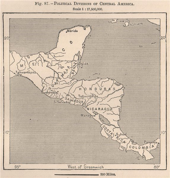 Associate Product Political divisions of Central America 1885 old antique vintage map plan chart