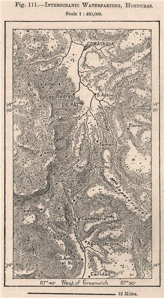 Associate Product Interoceanic Waterparting, Honduras. Central America 1885 old antique map